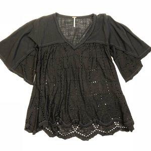 Free People Summer Lovin' black linen blend blouse